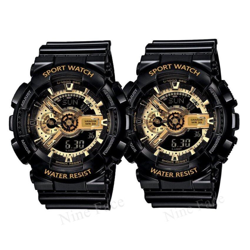 รีบเลย Sevenlight S SPORT นาฬิกาข้อมือคู่ (แถมกล่องสวยหรู) GP9210(Black/Goldx2) ลดราคา