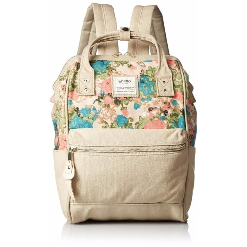 【Ship from Japan】Anello Canvas with mini rucksack AT-B 0487 Flower Natural - intl