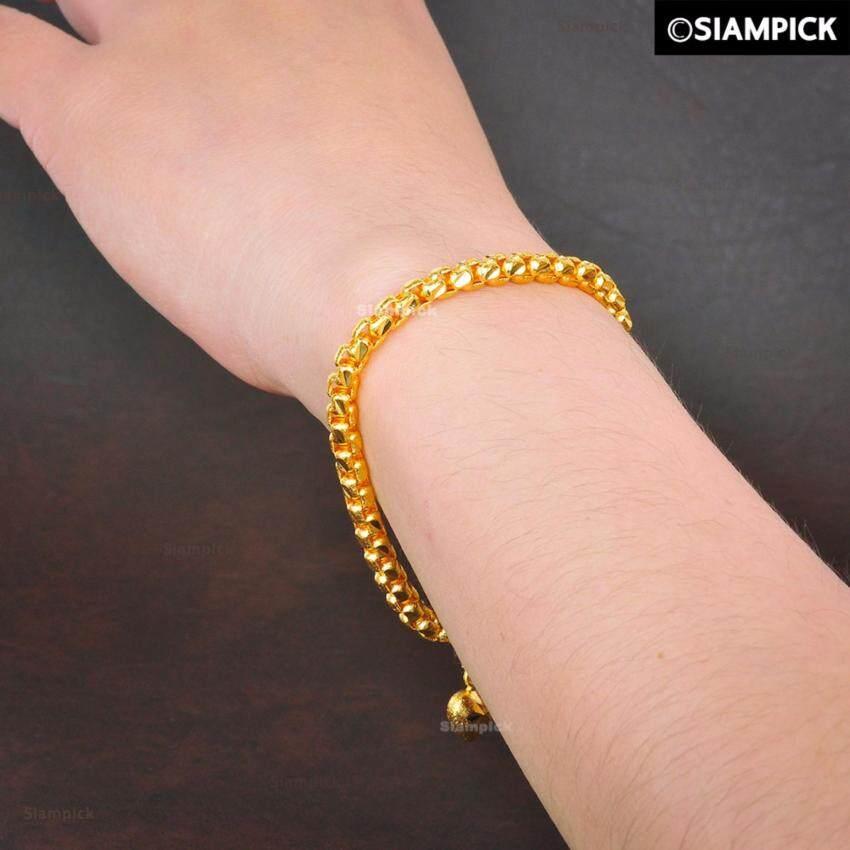 SIAMPICK : สร้อยข้อมือบล็อค ลงทราย หนัก 1 บาท ชุบทองคำแท้ 96.5% ทองไมครอน ทองชุบ เศษทอง  ...