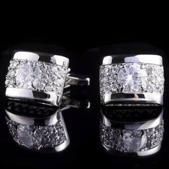 Silver white crystal silver mens cufflinks shirt cuff links wedding party gift - intl