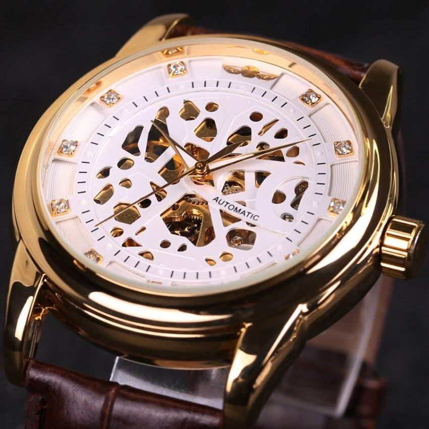 Skeleton Watch Hollow Automatic Mechanical Leather Strap Women Casual Business Sport Fas ...