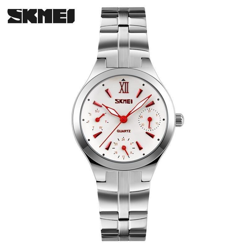 Skimei Fashion Ladies Stainless Steel Waterproof Quartz Watch 30 Meters Waterproof Watch 9132 - Red - intl