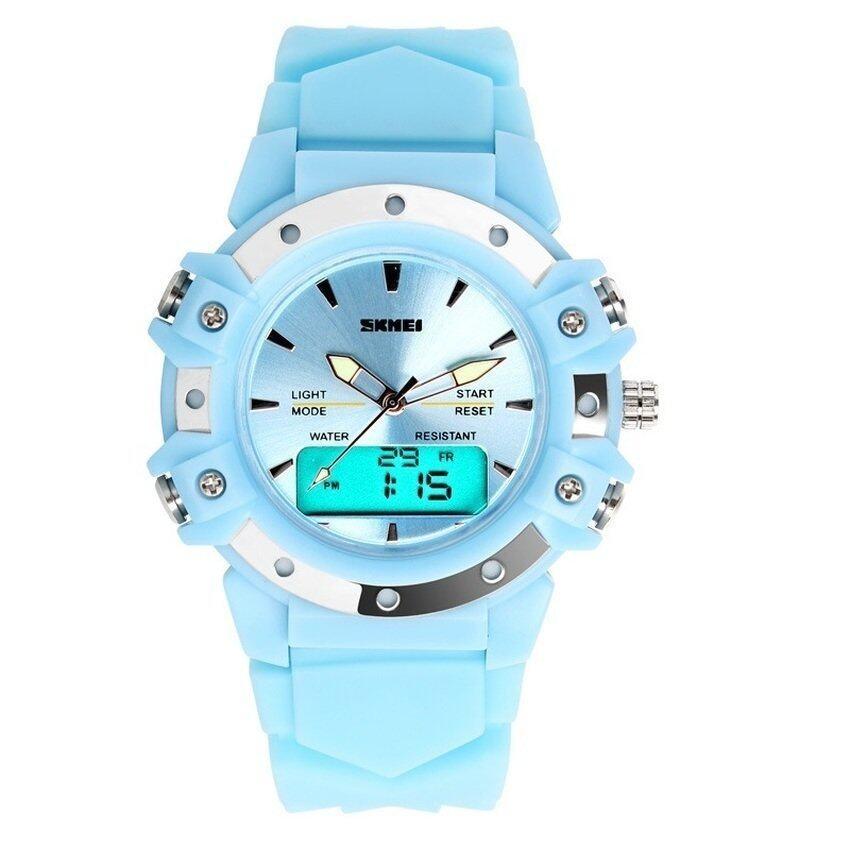 Skmei 0821 Stainless Steel Dual Display 5ATM Fashion Watch Multi-functional Sport Digital Watch (Blue) (Intl)