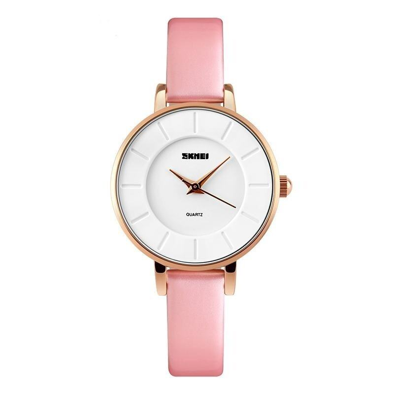 SKMEI Brand Women's Simple Elegant Leather Strap Waterproof Analog Quartz Wristwatch - intl