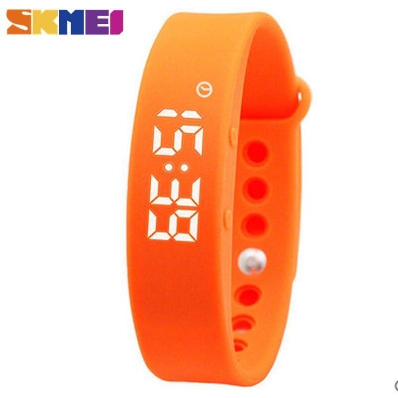 SKMEI LED Women Smart Bracelet Watch Sport Tracking Calorie Sleeping Monitoring Pedometer Thermometer Wristband LED Digital Wristwatches - Orange - intl