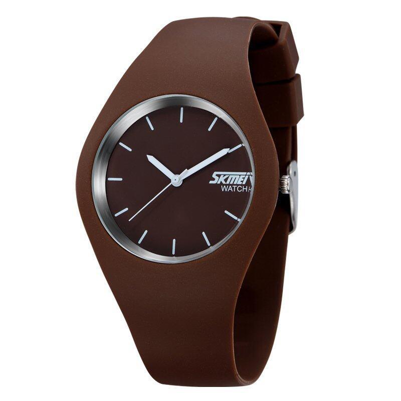 SKMEI Unisex Lovers Waterproof Silicone Strap Wrist Watch -Brown 9068 - intl