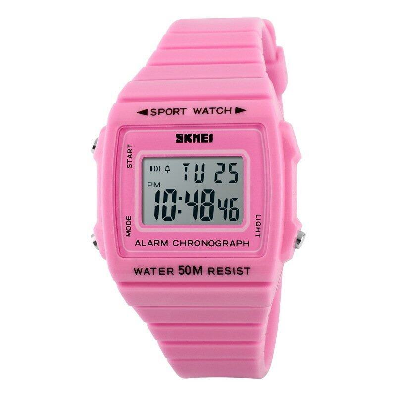 SKMEI Women's Multi-Functions Candy Color LCD Digital Sport Watch (Pink)