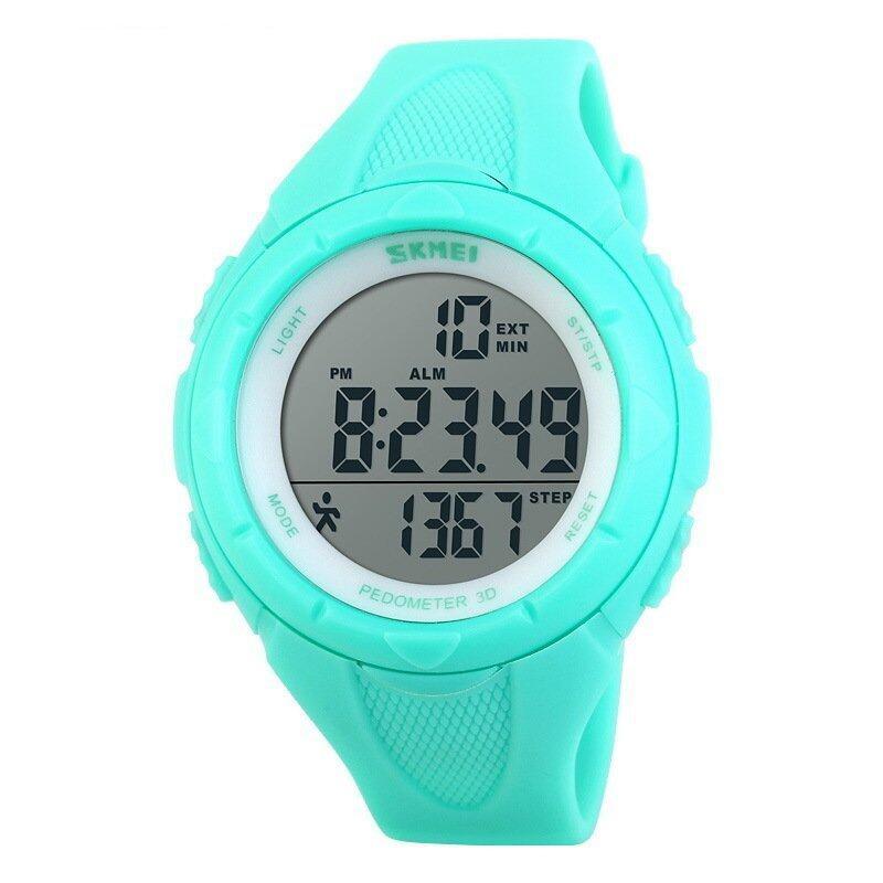 SKMEI Women's Multi-Functions Pedometer LCD Digital Sports Watch (Blue)