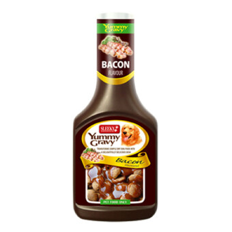 Sleeky Bacon Yummy Gravy Dog Food 350ml. อาหารสุนัข ตราสลิคกี้ ซอสเกรวี่ราดบนอาหารสุนัข รสเบคอน 350ml.