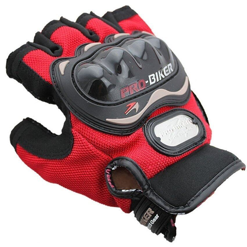 SW Men Motorcycle Gloves Motorbike Carbon Fiber Bike Racing Half Finger Red M (Intl)