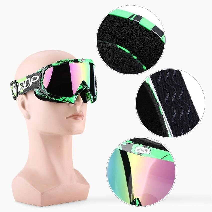 Sweatbuy Motorcycle ATV Dirt Bike Scooter Protective Goggles Eyewear Skiing Goggle Colorful Clear Lens - intl