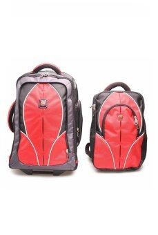 Swiss Gear Double Backpack with Trolley รุ่น KW-026 - Redของแท้ 100% (Warranty leafletถูกต้องตามกฎหมาย)