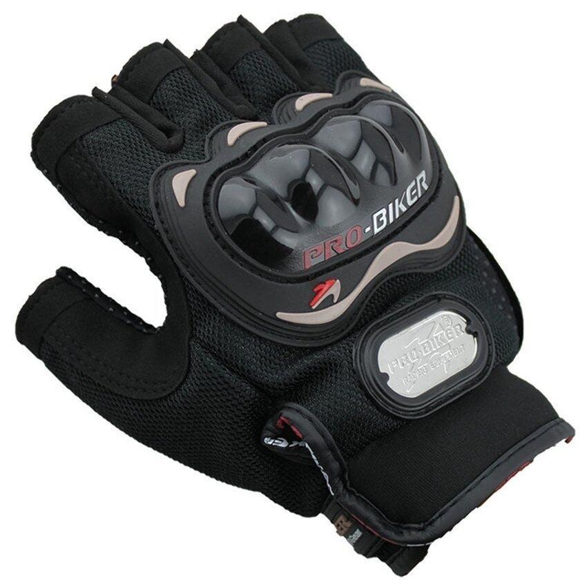Sworld Men Motorcycle Gloves Motorbike Carbon Fiber Bike Racing Half Finger Black L (Intl)