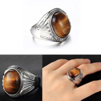 Tiger's Eye Stone Vintage Ring for Men Ring Jewelry - intl