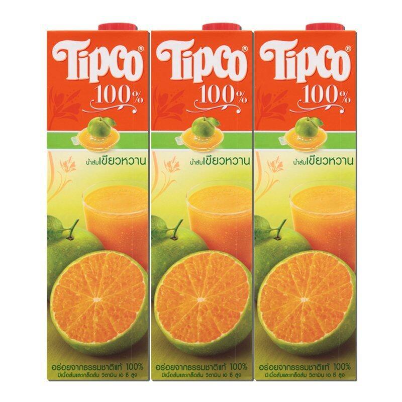 TIPCO ทิปโก้ น้ำส้มเขียวหวาน 100% 1000 มล. (แพ็ค 3 กล่อง)