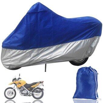 UJS ABWE! HOUSSE BACHE MOTO Couvre-Moto velo VTT scooter Taille XL 245cm bleu argente protection (Intl)