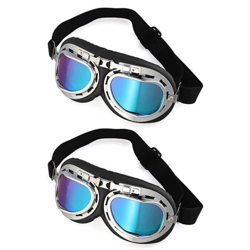 UJS Generic 2x Motorcycle Helmet Windproof Glasses Goggles ColorfulLens (Intl)