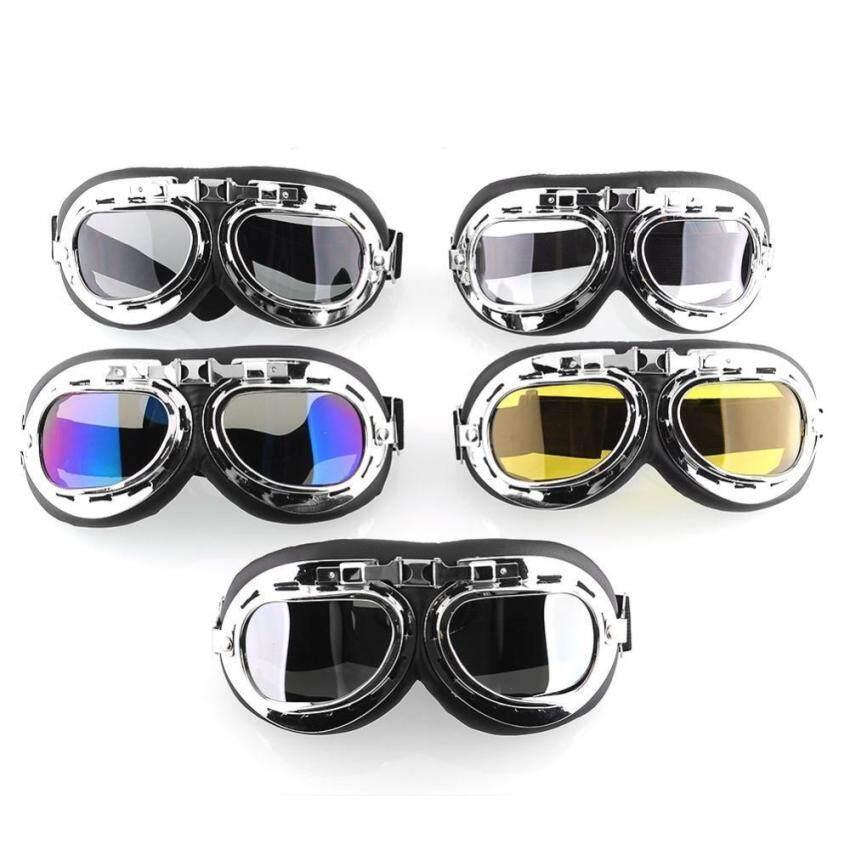 UJS Hot new Vintage Style Aviator Pilot Cruiser Motorcycle Biking Goggles Helmet Glasses New Black (Intl)