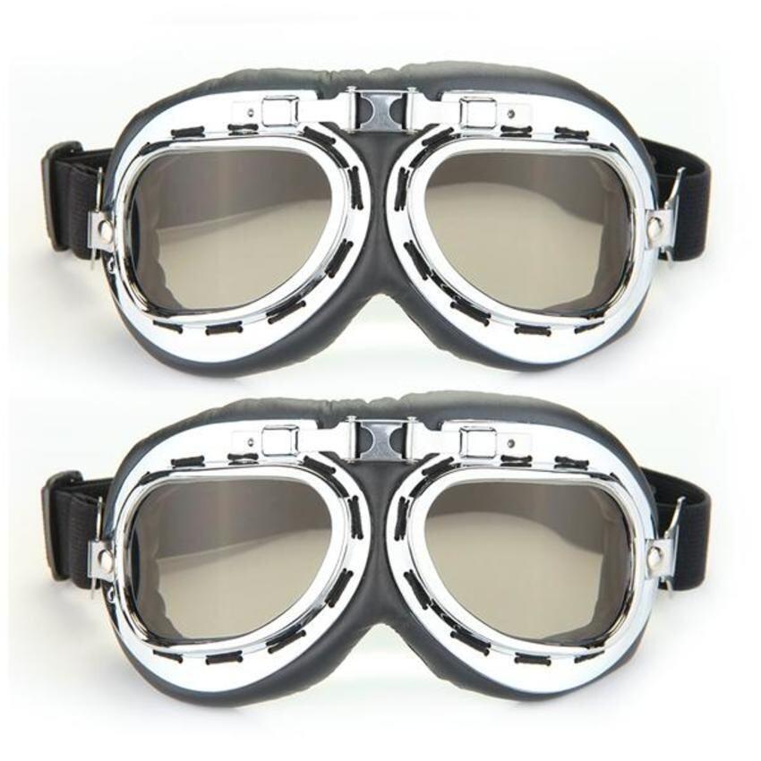 UJS Motorcycle Helmet Windproof Glasses Goggles Tawny Lens (2pcs) (Intl)