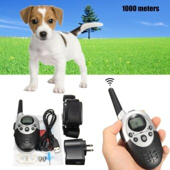 Waterproof Remote Electric Anti Bark Shock LED 1000M Pet Dog Training Collar kit - intl