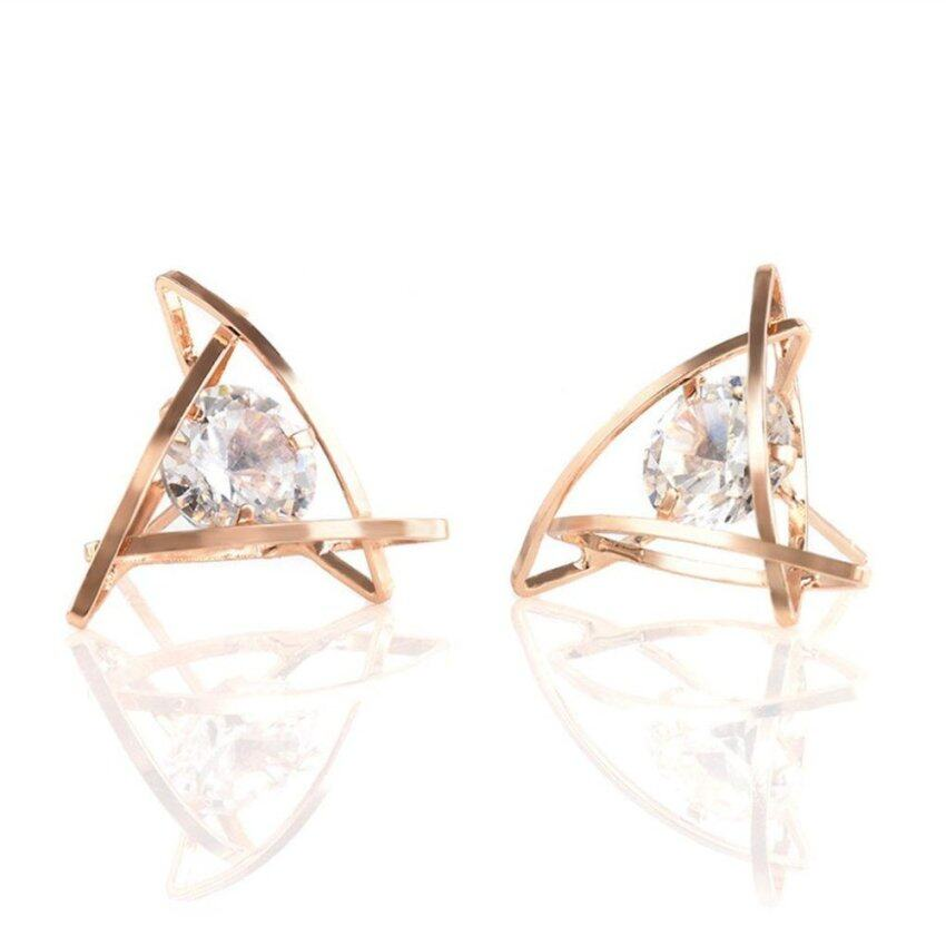 Women Girls Sparkling Crystal Hollow Triangular Zircon Stud Earrings Jewelry - intl ...