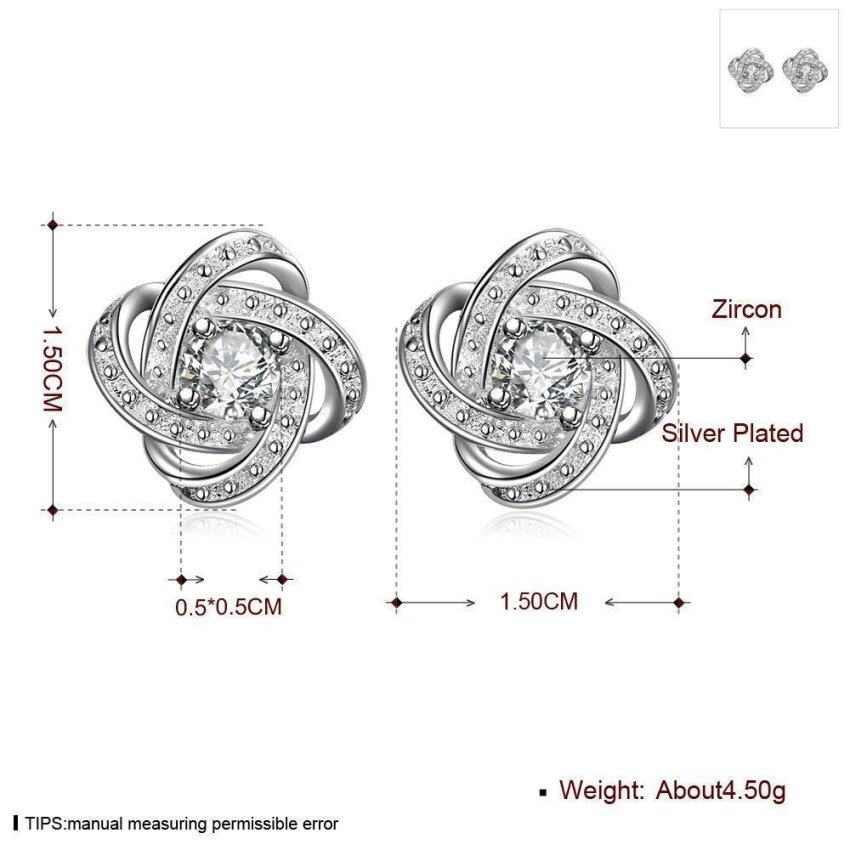 Women Silver Plated Surround Cubic Zirconia Ball Earrings - intl ...