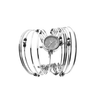 Womens Ladies Black Beads Decor Metal Bracelet Quartz Wrist Watch - intl