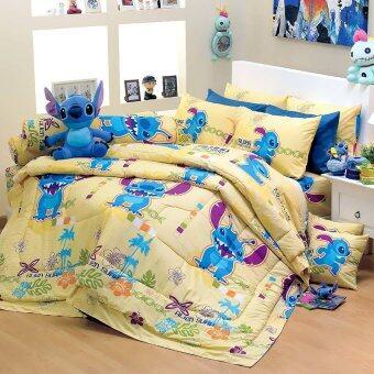 ชุดผ้าปูที่นอน Satin ขนาด6ฟุต 5ชิ้น - ลายการ์ตูน PK014 สีเหลือง