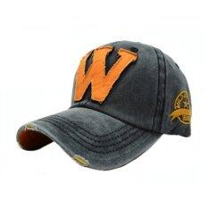 หมวกแฟชั่น หมวกเบสบอล ปัก W (สีดำ)
