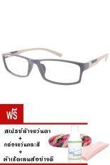 Kuker กรอบแว่นตาทรงเหลี่ยม New Eyewear + เลนส์สายตายาว ( +50 ) กันแสงคอมและมือถือ รุ่น 8002 (สีดำ/น้ำตาล) แถมฟรี สเปรย์ล้างแว่นตา+กล่องแว่นตา+ผ้าเช็ดเลนส์