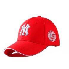 NY หมวกแฟชั่น-หมวกเบสบอล ผ้าใบปักลายนูน (สีแดง)