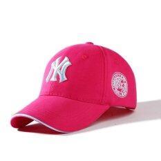 NY หมวกแฟชั่น-หมวกเบสบอล ผ้าใบปักลายนูน (สีชมพูเข้ม)