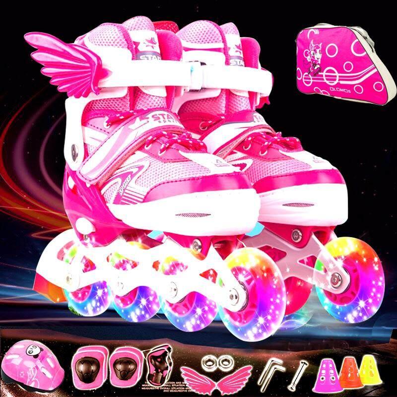 รองเท้าสเก็ต โรลเลอร์เบลด Roller Blade Skate รุ่น S=26-32  M=33-37 L=38-42 1ชุด-Purple/pink/blue/red.