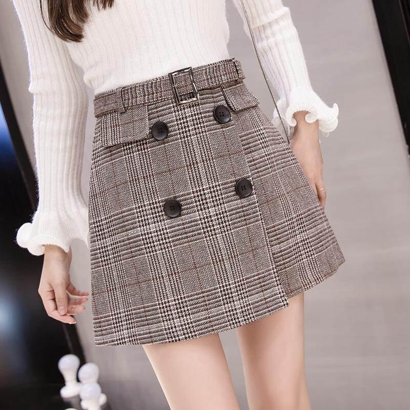 54de68c362 Plaid Skirt women Autumn And Winter New Style Korean Style High-waisted  Slimming Vintage Irregular