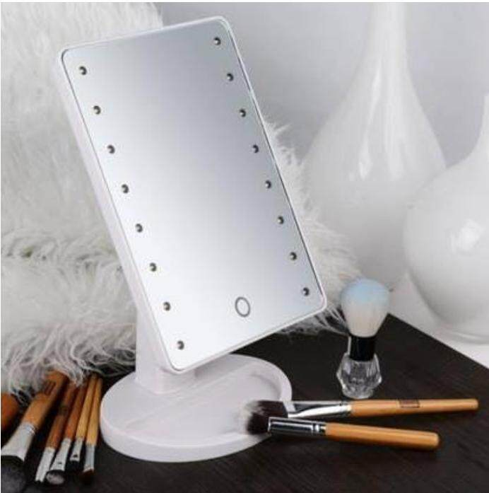 Alitech Avela กระจกแต่งหน้า Led Makeup Mirror พร้อมถาดใส่ของ ปรับองศาได้ ระบบเปิด-ปิดไฟ Touch Screen ทรงสี่เหลี่ยม รุ่น Kdb-0005 สีดำ (white).