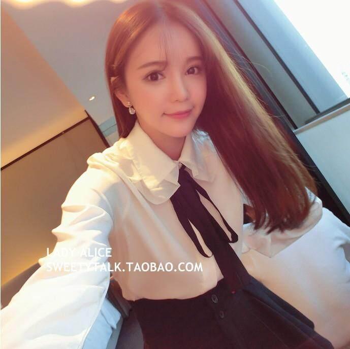 Gaya Korea manis kemeja putih lengan panjang wanita Terlihat Langsing Terlihat Langsing Dasi kupu-kupu