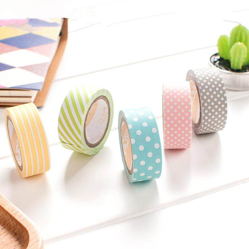 Mua 5 Pcs/Set Candy Color Rainbow Striped Dots Washi Tape Set Decorative Scotch Tape Papelaria Label Masking Sticker Tape - intl