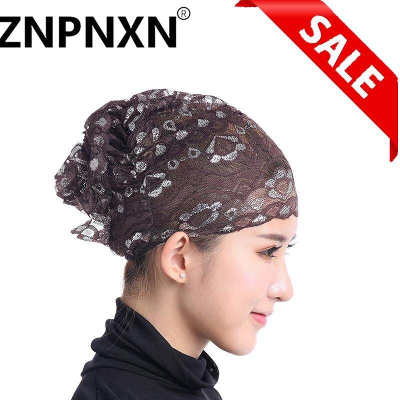 Znpnxn Hijab Muslim Wanita Ruffle Kanker Kemo Elegan Topi Renda Beanie Syal  Selendang Kepala Turban Cap fa7407fc8f