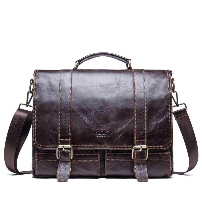 f24f66a9 CONTACTS leather casual mobile business briefcase first layer leather men's  computer bag shoulder Messenger bag - Brown