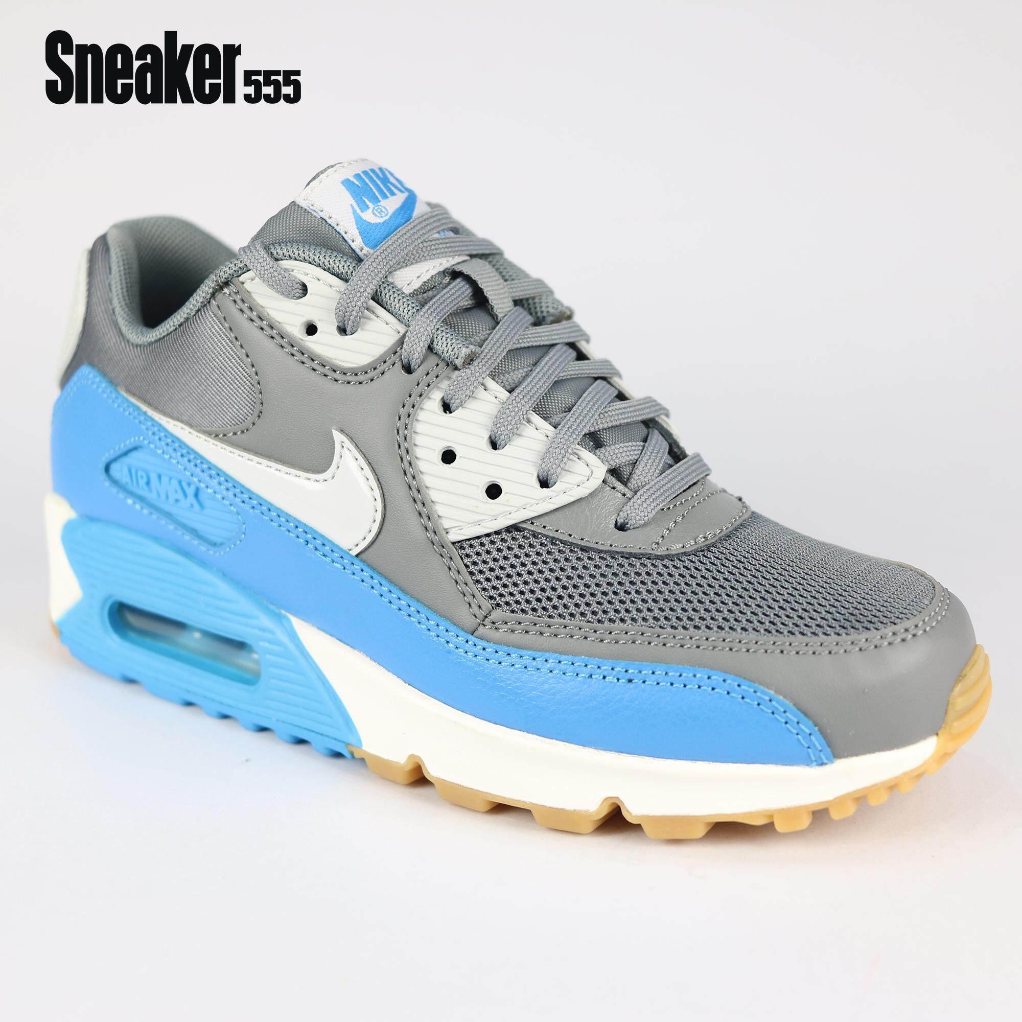 hot sale online 634e5 0b702 รองเท้าผ้าใบ ไนกี้ รุ่น WMIS AIR MAX 90 ESSENTIAL สำหรับผู้ชาย  สีเทา-ฟ้า-ขาว - NIKE WMIS AIR MAX 90 ESSENTIAL SHOE CL GRY PR PLTNM-BL  GLW-SMMT WH