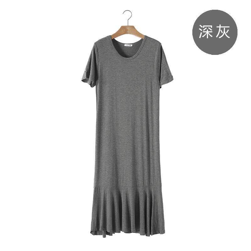 Mùa Hè 2020 Mẫu Mới Big Size Dáng Suông Rộng Váy Dài Tay Ngắn Cổ Tròn Váy Đuôi Cá Vải Modal Váy Lót Tôn Dáng Nữ ĐầM