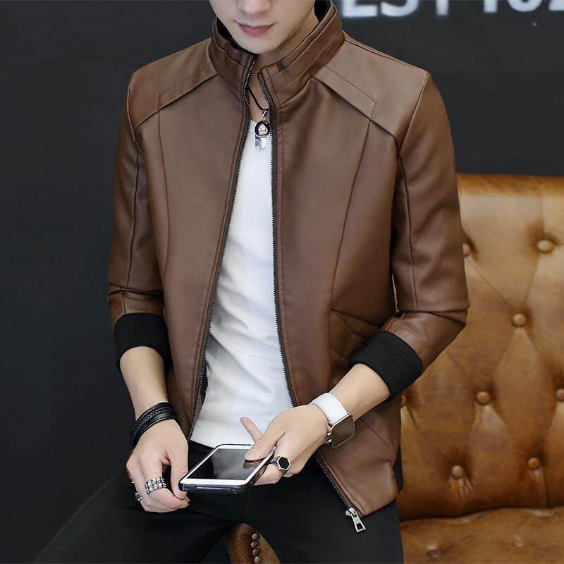 New Style Winter Men Plus Velvet Leather Coat Haining Thick Large Size Leather Jacket Slim Fit Locomotive Skin Trend Youth By Taobao Collection.