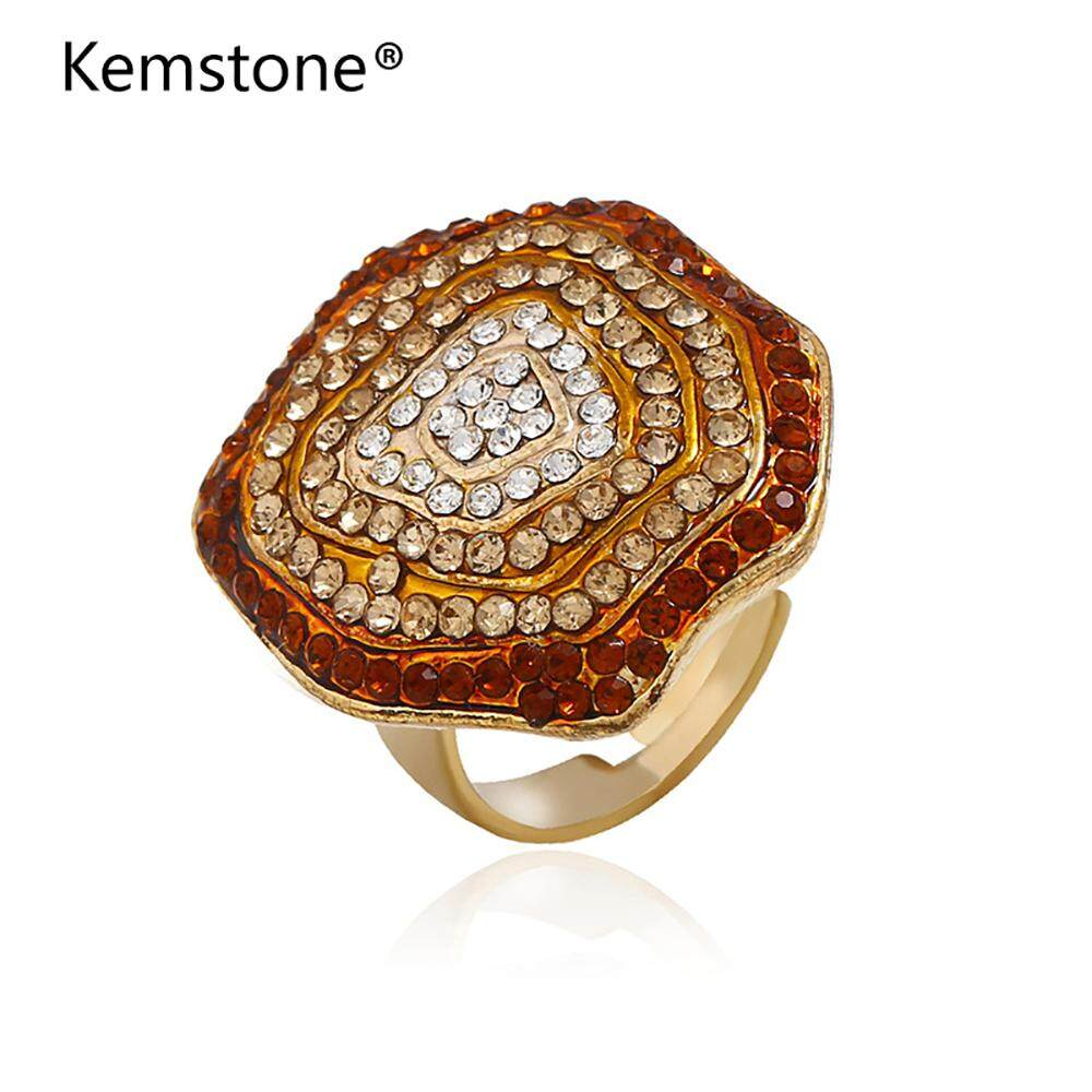 Kemstone Purple/Red/Pink/Black/Multicolor Rhinestone Flower Shape Adjustable Ring Jewelry