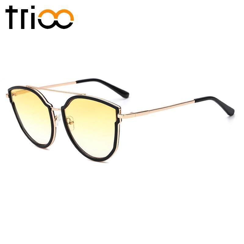 Trioo Kacamata Hitam Wanita Modis Wanita Penerbang Mata Kucing Kacamata Hitam Emas Bingkai Logam Gafas UV400