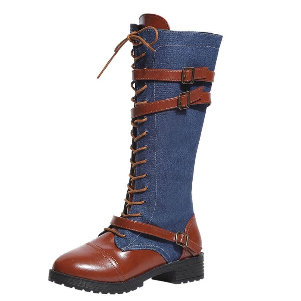 Teresastore Women Ladies Shoes Denim Roman Riding Knee High Cowboy Boots Martin Long Boots By Teresastore.