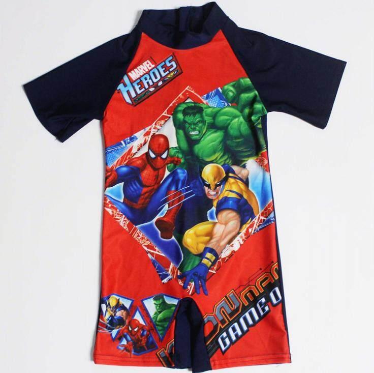 ชุดว่ายน้ำ ชุดว่ายน้ำเด็ก ชุดว่ายน้ำเด็กผู้ชาย ชุดว่ายน้ำ 1 ชิ้น Swimming Suit ลายการ์ตูน Marvel Heroes.