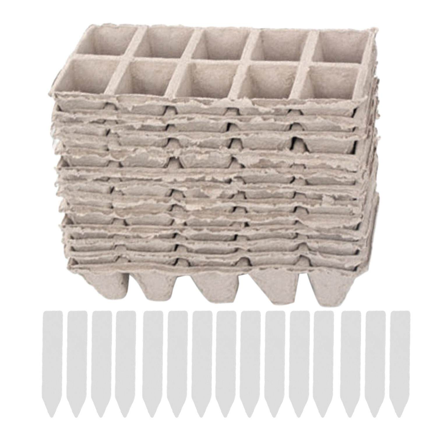 10 Strips Square Peat Pots Plant Seedling Starters Cups Nursery Herb Seed Biodegradable Pots with 50pcs Label Maker Tags - intl