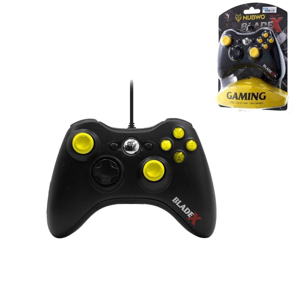 Nubwo BladeX จอยเกมมิ่ง ทรง XBOX 360 ใช้กับคอมพิวเตอร์ JOY USB NJ-34 (สีดำ)Black