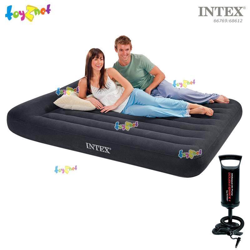 Intex ที่นอนเป่าลม 5 ฟุต (ควีน) มีที่หนุนหัวในตัว 1.52x2.03x0.23 ม. รุ่น 66769 + ที่สูบลมดับเบิ้ล ควิ๊ก วัน.