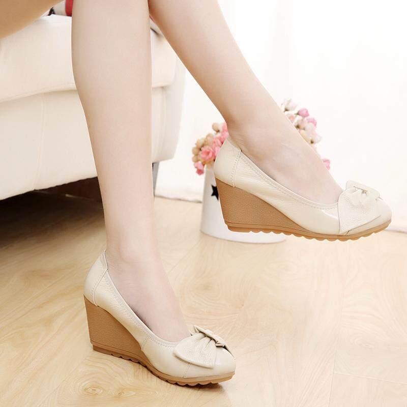 Sepatu Kulit Putih Musim Semi dan Musim Panas Sepatu Heels Wanita (Kasa Merah Model) - 3